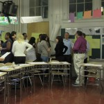 Teachers learn how to use the Four Corner Discussion strategy during a professional development workshop.